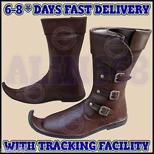 Medieval Leather Boots Brown Reenactment Mens Shoe Pirate Role Play Costume Boot