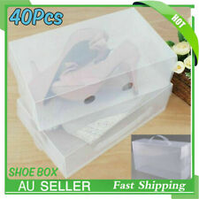 40X Transparent Storage Clear Shoe Boxes Stackable Foldable Case Home Wardrobe