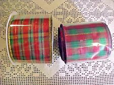 Christmas Ribbon 2 1/2 Width Red Green Gold Plaid Total 20 Yards Two Designs
