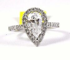 1.74Ct VS1 Natural Pear Shape Diamond Solitaire Engagement Ring 14k White Gold