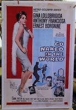 GO NAKED IN THE WORLD '61 27 x 41 linen Gina Lollobrigida original movie poster