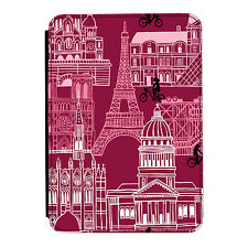 Paris Purple Eiffel Tower France iPad Mini 1 2 3 PU Leather Flip Case Cover