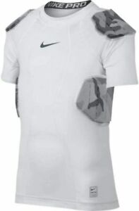 Youth Boys Nike Pro Combat 4 Pad White Black Camo Padded Football Shirt Shorts