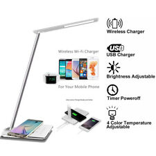 USB Charge LED Desk Lamp Table& QI Wireless Phone Charger Home Reading Light