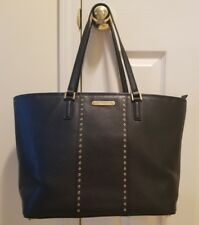 $348 MICHAEL KORS MINI GROMMETS CARRYALL LEATHER TOTE BAG 38F7CG4T3L BLACK