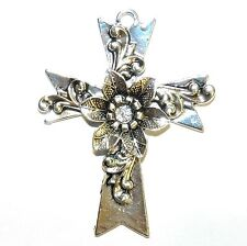 P2689p Antiqued Silver 76mm Flower Embellished Silver Cross Pendant 1pc