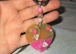 Pink Druzy Yellow Heart Agate Pendant Black Necklace OOAK bead hearts