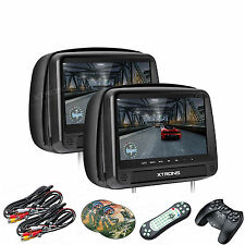 "Dual 9"" Black Touch Panel Car DVD/HDMI Headrest Monitors USB +Kids Game Handle"