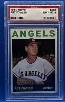 1964 TOPPS BASEBALL #349 ART FOWLER PSA 8 NM-MT ANGELS
