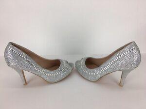 "Women's Bridal Peep Toe Silver White Diamante Mirror Crystals Heel 3 3/4"" Size 6"