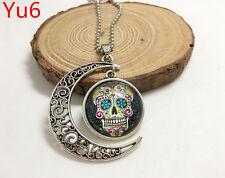Handmade black bling sugar skull Hollow Moon Pendant Silver Necklace#Yu6