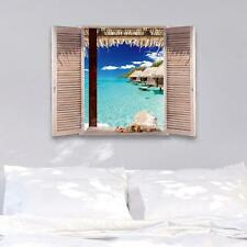 3D Effect Window Exotic Ocean Beach View Wall Stickers Art Mural Vinyl Decal
