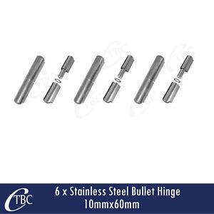 6x Stainless Steel Hinge Bullet Weld 10mm x 60mm Window Trailer Gate Caravan Pin