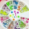 Mix neon colors sqaure dot shape nail studs 3D Design Manicure Wheel