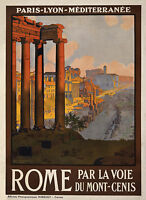Rome Italy Vintage Illustrated Travel Poster Print  Glass Frame 90cm