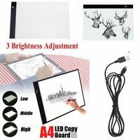 A4 LED Ultra Thin 3 Brightness Level Art Stencil Board Light Tracing Drawing Pad