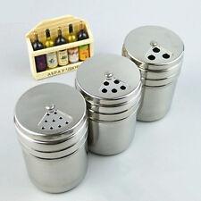 Stainless Steel Rotate Cruet Storage Bottle Spice Salt Pepper Shaker Jar Kitchen