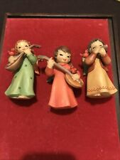 ~Anri Italy~ Set of 3 Hand Carved & Painted 4� Angels Playing Guitars - Mint