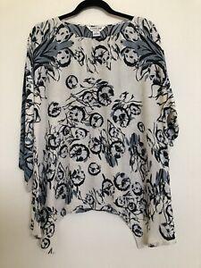 Citron Santa Monica Textured Kimono Tunic Top  100% Silk Floral Medium