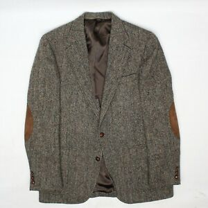 VTG Saks Fifth Avenue Mens Harris Tweed Sport Coat 38R Brown Speckle Herringbone