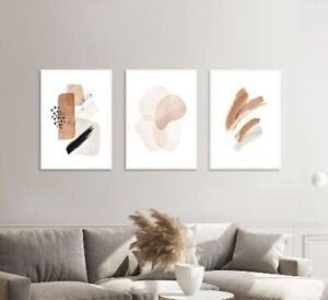 Set of 3 Abstract Prints Wall Art Poster Brown Boho Prints + White Frames A3