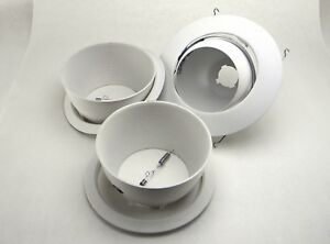 """Lot of 3 Recessed Can Light Trims with White Metal Step Baffle 4"""" 6"""""""