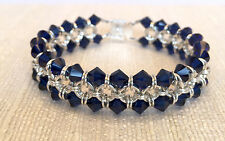 Handmade Chainmaille Bracelet Silver Filled with Sapphire Crystals. 7 inches.