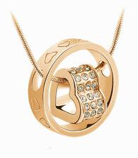 Halskette mit Herz Anhänger Gold mit Zirkon Diamant Damen Collier lang  Geschenk