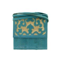 Leaders In Leather Turquoise & Copper Trifold Traveler Bag On Sale
