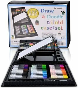 155 Piece Art Set For Kids Gifts Supplies Drawing Painting Coloring Trifold Kit