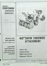 "Sears Craftsman​ Lawn Garden Tractor 40"" Snow Thrower Owner & Parts Manual 36pg"