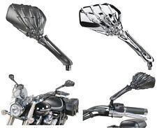 Specchietti Moto Skeleton Ossa Cromo Neri Omologati Universali Harley Honda BMW