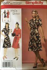Simplicity 1587 H5 1940s Retro Pattern Dress