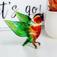 "Glass Owl Figurine / Handmade Hand Blown Art Glass Bird Animal 2.5"""