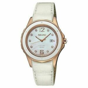 Seiko Coutura Women's Watch Ladies Steel Leather Band SXDE White & Rose Gold
