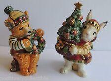 Vintage Retired Christmas Lodge FITZ & FOYD Bunny & Bear Salt Pepper Shakers