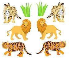 ~ Lion Tiger Leopard Wild Cats Grass Safari Zoo Animals Mrs Grossman Stickers ~