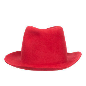 RRP €200 FORTE_FORTE Felt Rabbit Yarn Fedora Hat One Size Red Made in Italy