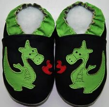Minishoezoo soft sole baby leather shoes 18-24 m dragon black slippers