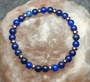 Lapis Lazuli and Rose Gold Hematite Gemstone Bead Bracelet