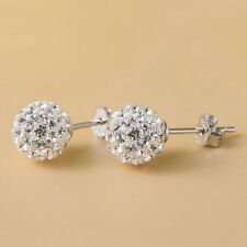 1 pair 6mm Crystal Ball Premium Crystal Bling Silver Ear Stud Earring Disco Ball