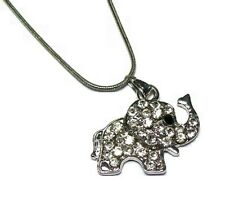Silver Baby Elephant Crystal Diamante Necklace Pendant Chain Women Girls Dress