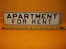 "APARTMENT FOR RENT EMBOSSED ALUMINUM METAL 12""""  X 3"" SIGN"