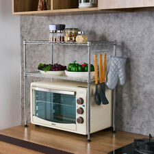 Kitchen Microwave Oven Rack Shelving Unit,2-Tier Adjustable Carbon Steel Storage