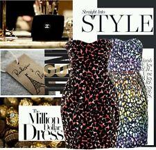 H&M Nero e Rosa a Cuori Stampa Corsetto Vestito Bnwt UK 8