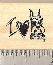 I love my Schnauzer Rubber Stamp E8015 Wood Mounted dog