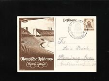 Germany Berlin Olympics 1936 Stadium Cancel Middle of Games Postal Card 3p