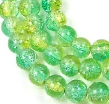 """8mm Czech Glass Crackle Cracked Round Beads - Green / Yellow  (50) 16"""""""