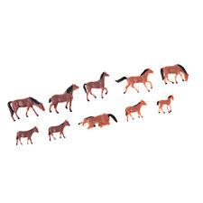 10Pcs 1/87 HO Echelle Chevaux Modèle Peint Animal Figure pour les Modèles