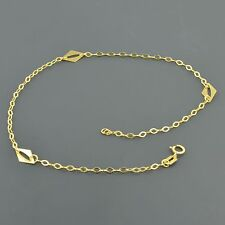 """10K YELLOW GOLD FLAT OPEN CABLE LINK 10"""" ANKLET W/ 3 DIAMOND SHAPED STATIONS"""